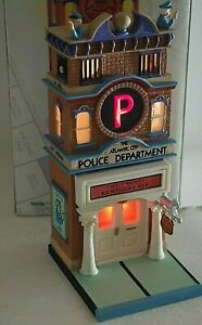 DEPARTMENT 56 MONOPOLY BUILDING POLICE DEPARTMENT LIGHTED WORKING