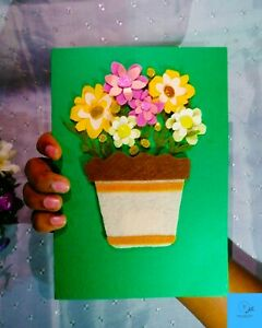 Stunning Hand crafted organic greeting card Pretty Flower/floral Vase