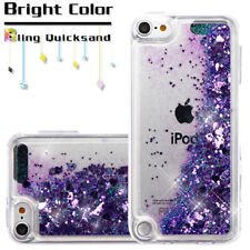 For iPod Touch 5th & 6th Generation Purple Glitter Hearts Liquid Water Skin Case