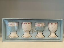 NEW GRACE TEAWARE VICTORIAN WHITE PINK BLUE ROSES EGG CUP HOLDER STAND 4 PC SET