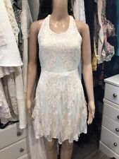 NWT Madison Marcus Size Medium Cream Lace Halter Sexy Back Boho Dress