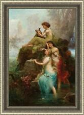 """Old Master-Art Antique Oil Painting Portrait Fairy girl on canvas 36""""x48"""""""