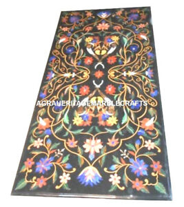Black Marble Dining Center Table Top Marquetry Floral Art Occasional Decor H2440