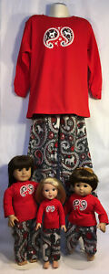 Child & Doll Matching Pajamas Size 2-12, American Girl, Wellie Wisher, Bitty PUP