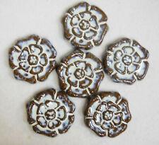 ROSETTE  Mosaic Tiles Handmade Ceramic Art - Craft Tiles Rustic White Set of 6