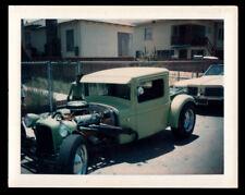 YELLOW CUSTOM STREET ROD 1932 FORD HOT ROD RACE CAR ~ 1960s POLAROID PHOTO