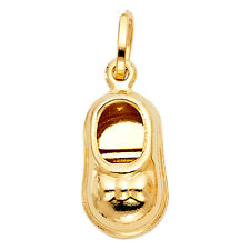 Baby Shoe 14K Solid Yellow Gold Baby Shoe Charm Pendant 1.5 gram 0.67 inches