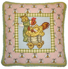 """16"""" x 16"""" Handmade Wool Needlepoint Bear Rooster Bees on the Board Pillow"""