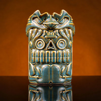 Mouth of The Serpent Quetzalcoatl Brown Turquoise Glaze Tiki Mug 24 OZ Official