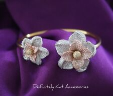 18k white & rose gold gf luxury white stone flower cluster cocktail cuff bangle