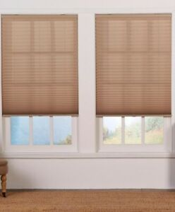 CUT TO WIDTH Cordless Light Filtering Pleated Shade Perfect Lift - Camel QDCM