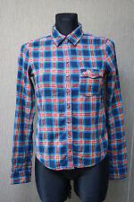 HOLLISTER Damen Bluse S Hemd kariert Shirt mehrfarbig Baumwolle 17@