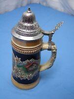 German Lidded Beer Ceramic Stein / Mug by King