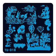 Polish Stamping Template Nail Art Image Printing Plates Lotus Flower Bird TU18