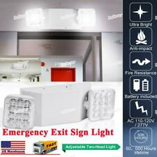 1pack Led Emergency Exit Light Adjustable Dual Head Lamp With Battery Backup Us