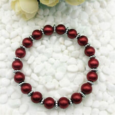 Beautiful 8mm Red South Sea Shell Pearl Stretchable Bracelets 7.5""