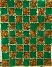 """Handmade Flannel Rag Quilt-Fall Colors-59"""" x 45""""-Green-Brown-Gold"""