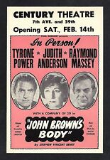"Tyrone Power ""JOHN BROWN'S BODY"" Judith Anderson 1953 Broadway Opening Flyer"