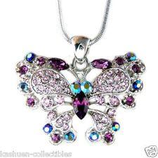 Purple BUTTERFLY made with Swarovski Crystal Bridal Wedding Jewelry Necklace NEW