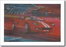 "REDUCED Ford GT40 24""x18"" signed by artist George Bartell"