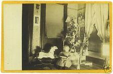 Real Photo Postcard - Child Chrismas Tree Rocking Horse