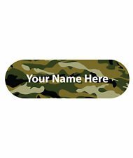 kids waterproof name labels, pack of 40, stick on, choice of fun designs, camo