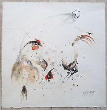 Lamindelbert aquarelle signée coqs P 842