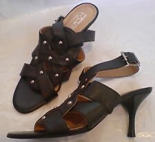 NEW Office Black Leather Strappy Heels Size 37