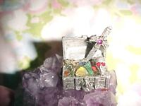 Small Fantasy pewter TREASURE CHEST, Mounted on bed of Amethyst, CROSS SKULL
