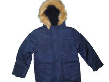 Gymboree boys faux fur trimmed hooded winter Jacket  youth Small 5 / 6 Navy