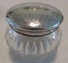 Sterling Lid POWDER JAR Flower & Trellis Chased RF Mono Zipper Cut Glass Jar