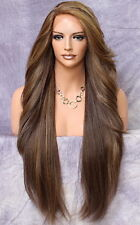 Extra Long Human Hair blend Heat OK Full Lace Front Wig Brown Mix WBPC 8/27/613