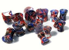 "PAIR-Marble Red/Blue Acrylic Double Flare Plugs 14mm/9/16"" Gauge Body Jewelry"