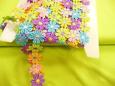 6,50 €/m, Blumenband, Bunte Blumen, Polyester, Borte, Rosa, Grün, Lila, Blau,