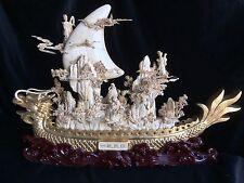 "24"" Bovine Bone Antique Golden Dragon Boat 01b2a"