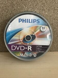 10 x Philips DVD-R Blank Recordable Discs 4.7GB 120 Mins 1-16X 10 PK Spindle