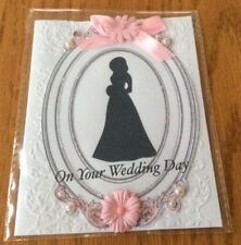 Wedding Card The Dress Portrait Brides Silhouette Adorned With Pearls  Handmade