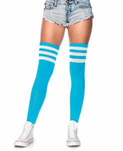 New Leg Avenue 6605 Neon Blue Athletic Ribbed Thigh High Stockings