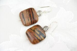 "Petrified Wood 20mm Square Brown Gemstone .925 Sterling Silver Earrings 1 1/2"""