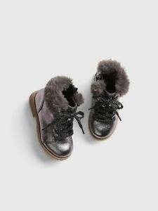 BABY GAP Metallic Fur-Trim Ankle Boots booties shoes 8 9