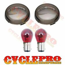 2 Smoke Turn Signal Lens Red Bulb Kit for 2000-16 Harley Bullet Dome Style