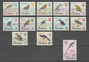 s38441 GAMBIA 1966 MNH** Definitives Birds 13v NOTE