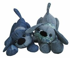 Denim Dog soft toy recycling pup.  Sewing pattern by pcbangles