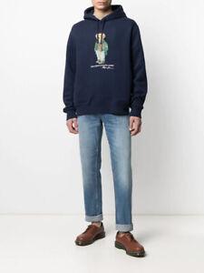 BNWT Ralph Lauren Polo Bear Hoodie In NAVY Blue Sweatshirt Pullover S/M/L/XL FAB