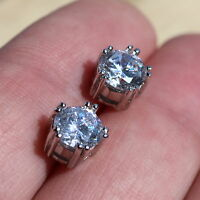 925 Sterling Silver Round Cut  Cubic Zirconia Stud Earrings 7mm CZ Stud