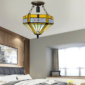 Tiffany Style Ceiling Lamp Yellow Hexagon Shade 10 inch Stained Glass Decoration