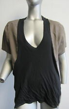 MARNI cotton voile & jersey grey & black  plunging scoop neck top sz 44