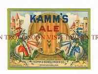 Graphic 1940s IRTP Kamm's Ale Mishawaka 12oz Beer Label Tavern Trove