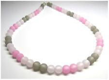Halskette originale Polarisperlen rosa pink grau hell Perlen Kette Collier.