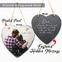 Personalised Fathers Gift photo printed message engraved heart rock slate plaque